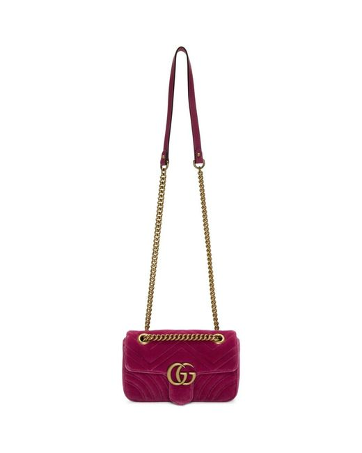 59e6cacd3a4f Lyst - Gucci Pink Mini Velvet Marmont 2.0 Bag in Pink