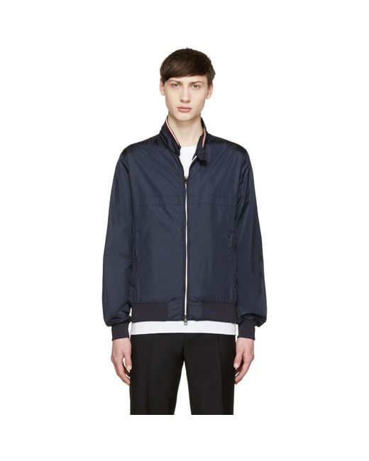 Moncler - Blue Navy Nylon Bomber Jacket for Men - Lyst