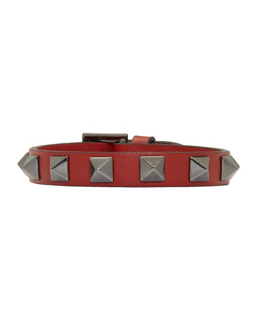 Valentino - Red Garavani Single Wrap Rockstud Bracelet for Men - Lyst