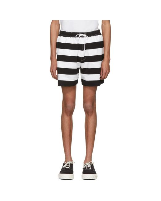 Noah NYC - Black Short noir et blanc Rugby for Men - Lyst