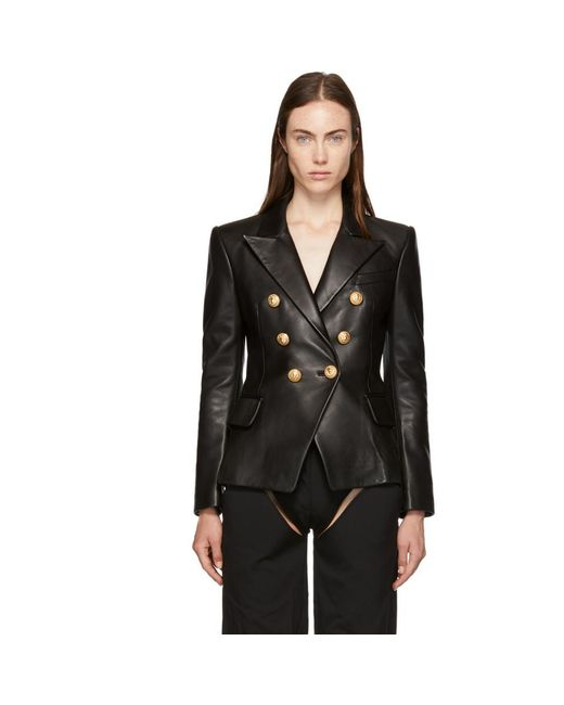 Balmain - Black Six-button Leather Blazer - Lyst