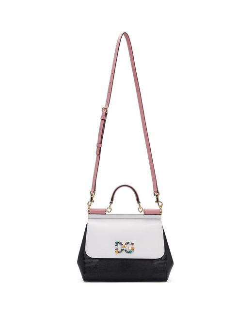 Dolce & Gabbana - White And Black Medium Miss Sicily Bag - Lyst