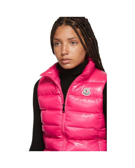 27b141e931e5 Moncler Pink Down Ghany Vest in Pink - Lyst