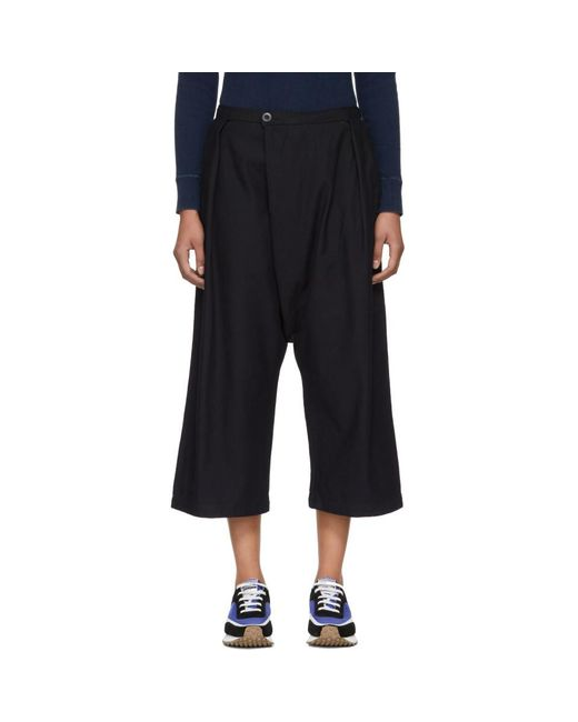Blue Blue Japan - Blue Navy Wool Flannel High-waisted Trousers - Lyst