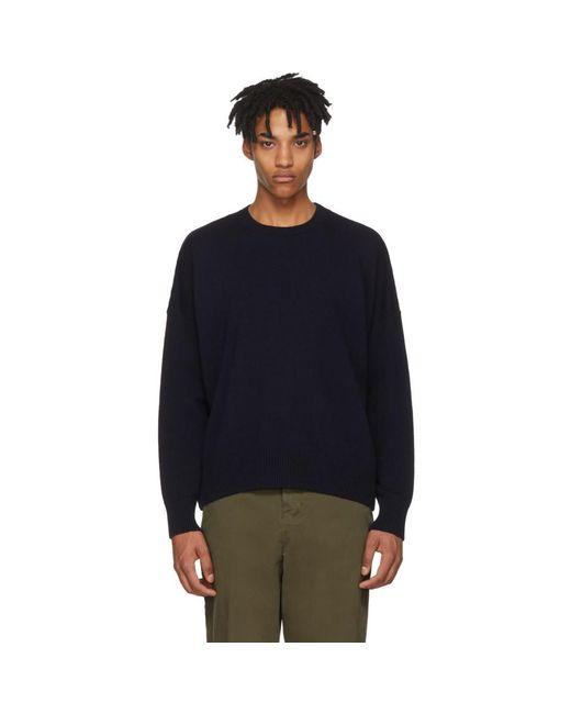 AMI - Blue Navy Oversized Sweater for Men - Lyst