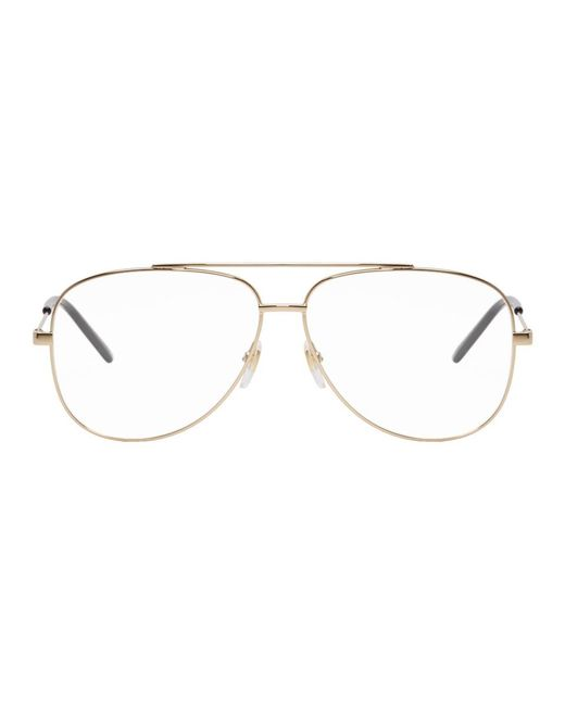 24478575669 Gucci - Metallic Gold Metal Round Glasses for Men - Lyst ...