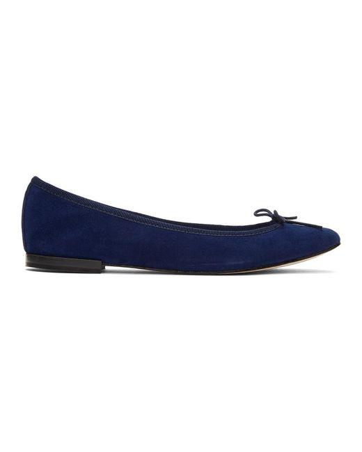 Repetto - Blue Suede Cendrillon Ballerina Flats - Lyst
