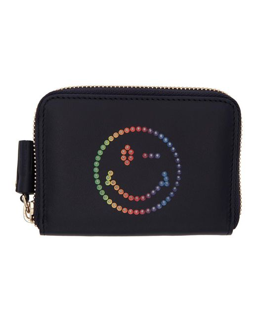 Anya Hindmarch - Blue Navy Small Rainbow Wink Round Zip Wallet - Lyst