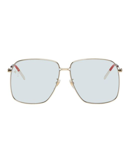 7fb13269023 Gucci - Multicolor Blue Metal Rectangular-frame Sunglasses for Men - Lyst  ...