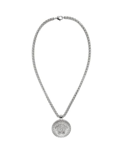 Versace | Metallic Silver Large Round Medusa Chain Necklace for Men | Lyst