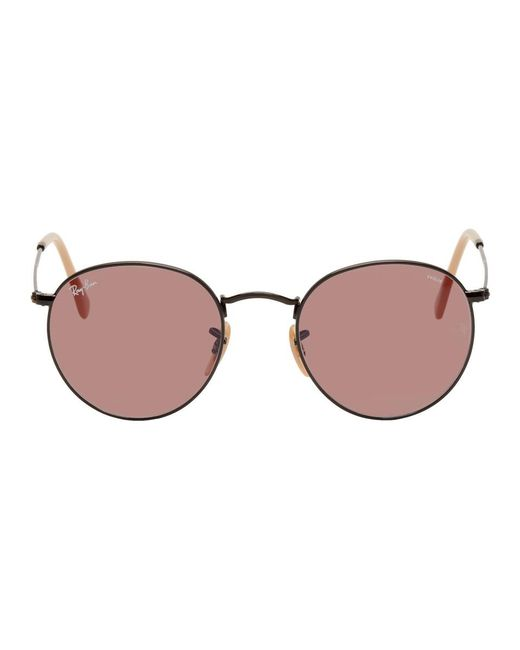 Ray-Ban - Black And Pink Round Phantos Sunglasses for Men - Lyst