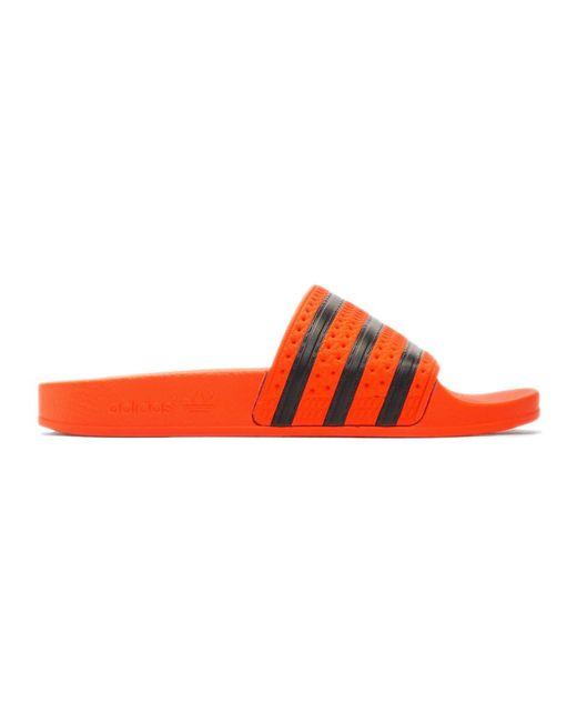 96aefacfb80cc Adidas Originals - Red Orange Adilette Slides - Lyst ...