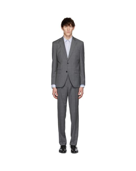 BOSS - Gray Grey Check Johnston 5 Lenon 1 Suit for Men - Lyst