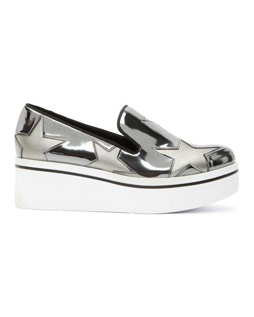 Stella McCartney - Metallic Silver Binx Stars Slip-on Sneakers - Lyst