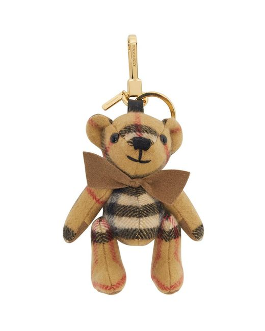 Burberry Natural Beige Cashmere Vintage Check Thomas Bear Keychain