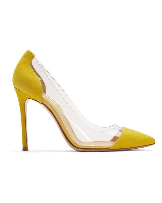 4d446e836cf Lyst - Gianvito Rossi Yellow Suede Plexi Heels in Yellow