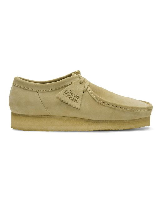 Clarks - Natural Beige Low Suede Wallabee Moccasins - Lyst