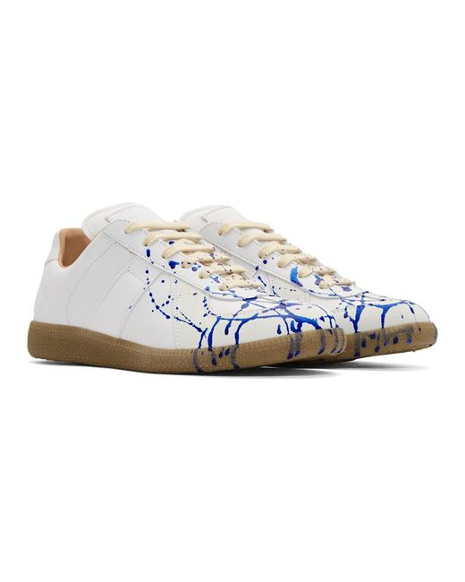 d5513c7c1b0 Men's White And Blue Paint Drop Replica Sneakers