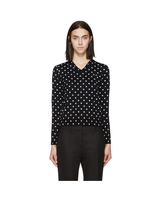 Play Comme des Garçons - Blue Navy Polka Dot V-neck Sweater - Lyst