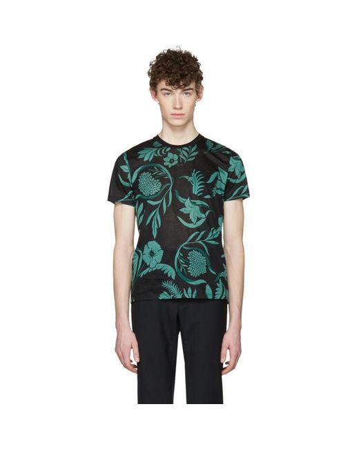 AMI | Black & Green Floral T-shirt for Men | Lyst