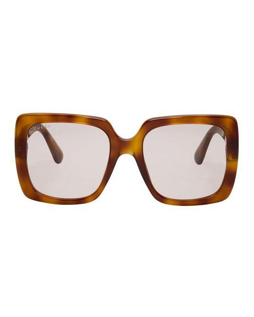 0d87b0cfba34 Gucci - Brown Tortoiseshell Feminine Chic Sunglasses - Lyst ...
