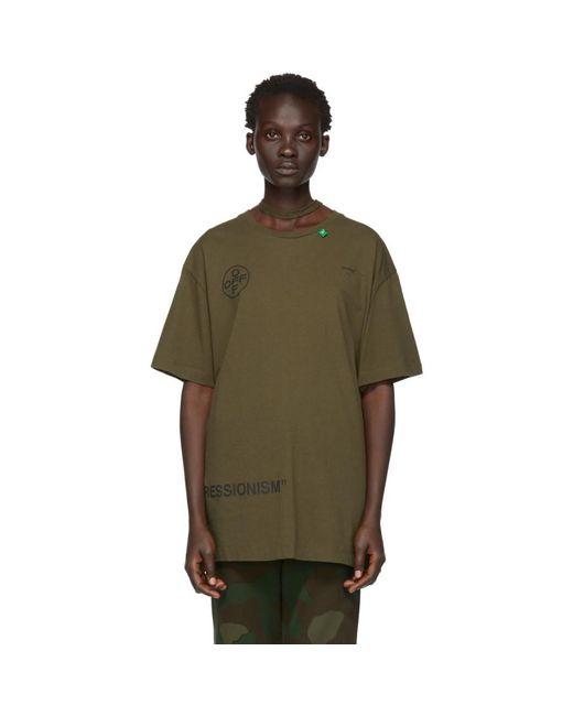 e0ddc24f90ab Lyst - Off-White c o Virgil Abloh Green Stencil Over T-shirt in Green