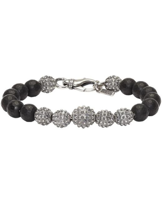 Emanuele Bicocchi | Metallic Silver & Black Beaded Bracelet for Men | Lyst