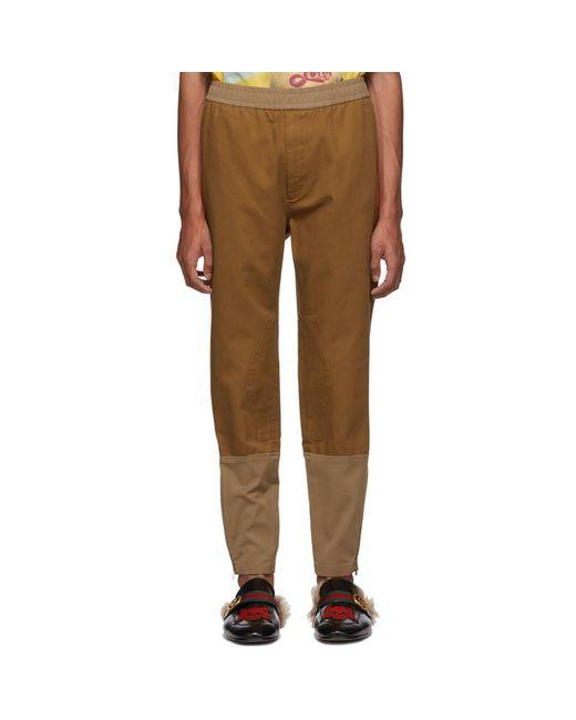 Gucci - Brown ブラウン コットン ドリル トラウザーズ for Men - Lyst