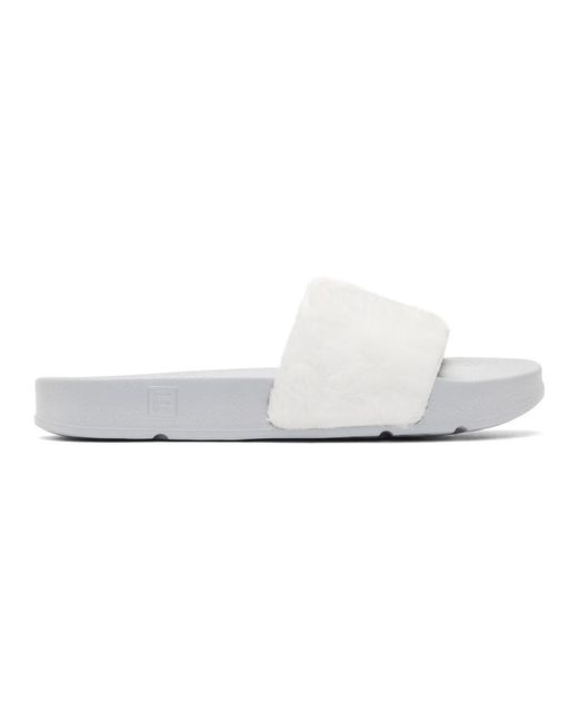 Baja East - White And Grey Fila Edition Shearling Drifter Slides - Lyst