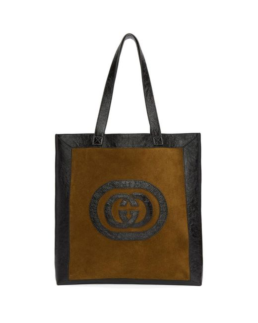 Gucci - Brown And Black Large Suede Ophidia Tote for Men - Lyst