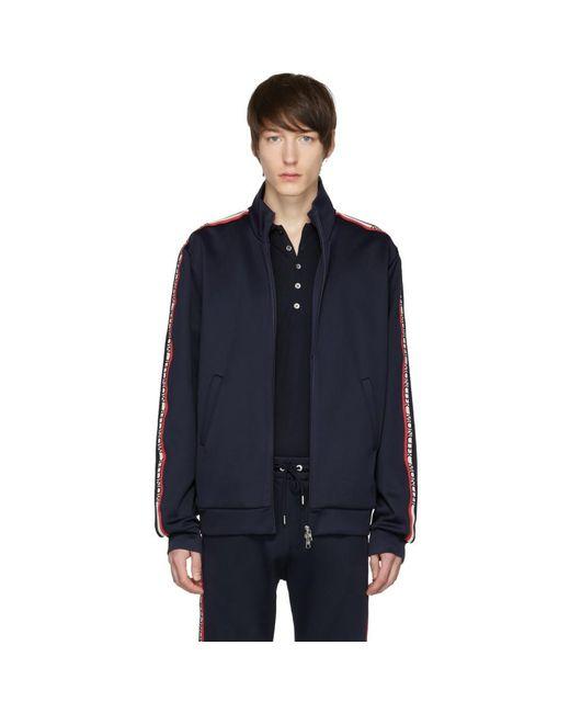 6738dc9081df Moncler - Blue Navy Logo Sleeve Track Jacket for Men - Lyst ...