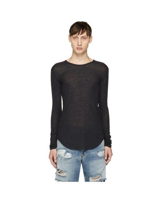 Balmain - Blue Navy Long Sleeve Ribbed T-shirt for Men - Lyst