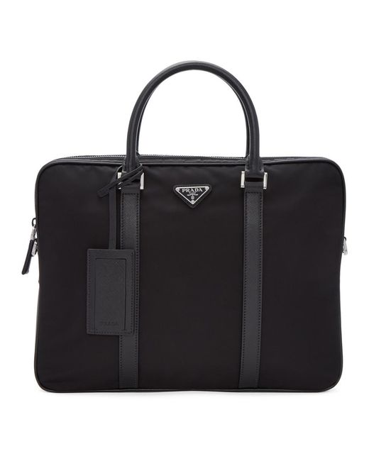 5989f2057d Prada Black Nylon Briefcase in Black for Men - Lyst