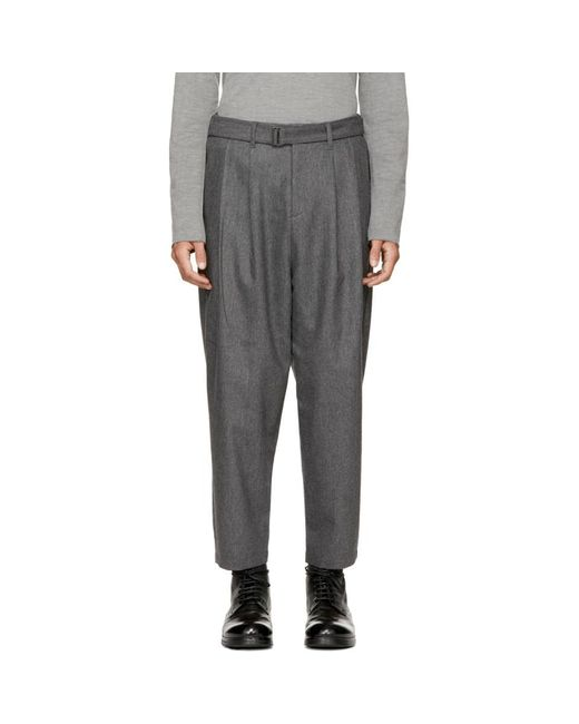 Attachment - Gray Grey Pleated Tapered Trousers for Men - Lyst