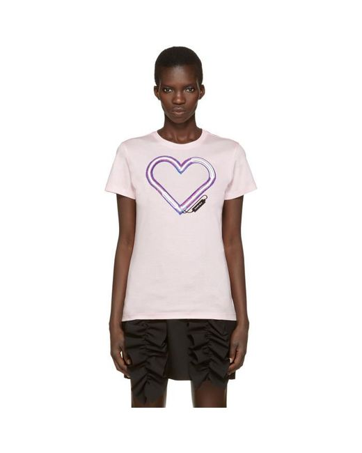 Carven | Pink Neon Heart T-shirt | Lyst