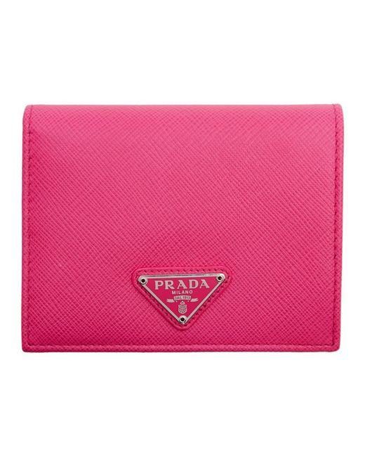 Prada - Pink Small Triangle Logo Wallet - Lyst