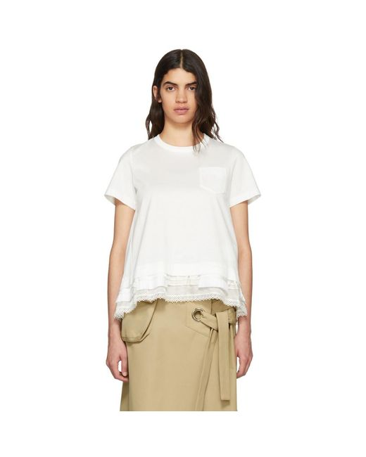 Sacai - White Trim T-shirt - Lyst
