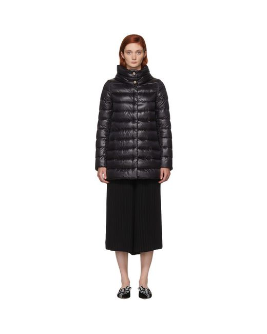 Herno - Black Classic High-low A-line Nylon Down Coat - Lyst