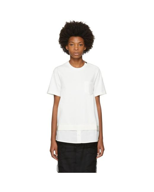 Lyst moncler white twist pocket t shirt in white for Off white moncler t shirt