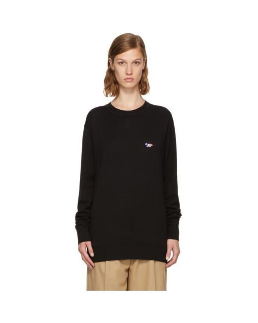 Maison Kitsuné | Black Tricolor Fox Patch Sweater | Lyst