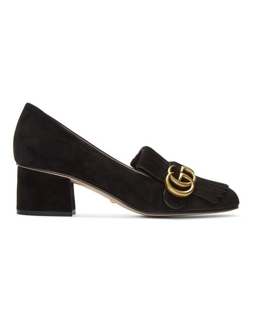 ca2253e4508 Gucci Black Suede GG Marmont Loafer Heels in Black - Lyst