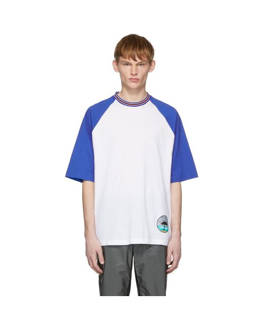 Prada - White And Blue Graphic T-shirt for Men - Lyst