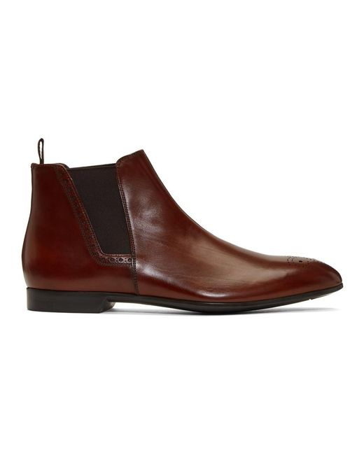Prada - Brown Leather Chelsea Boots for Men - Lyst