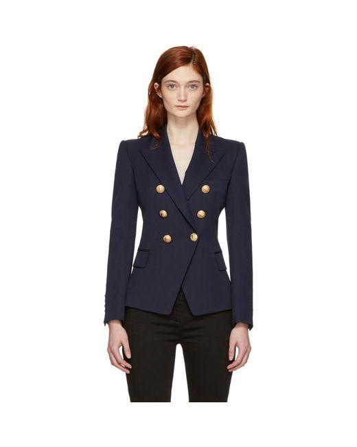 Balmain - Blue Navy Wool Six-button Blazer - Lyst