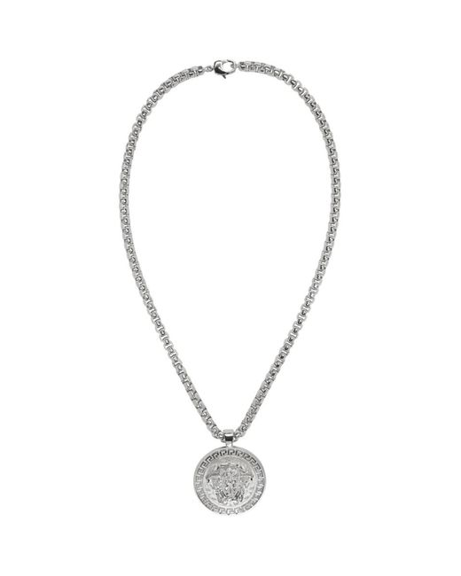 Versace - Metallic Silver Large Round Medusa Chain Necklace for Men - Lyst