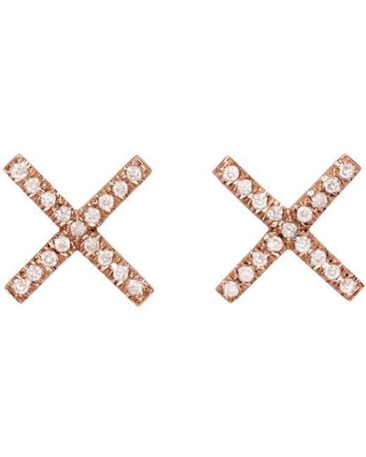 Eva Fehren | Metallic Rose Gold & Diamond X Studs | Lyst