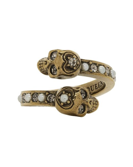 Alexander McQueen - Metallic Gold Twin Skull Ring - Lyst