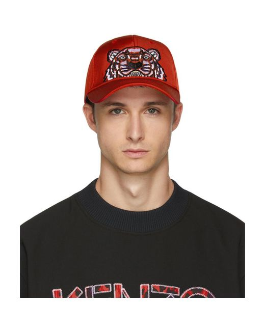 KENZO - Red Canvas Tiger Cap for Men - Lyst