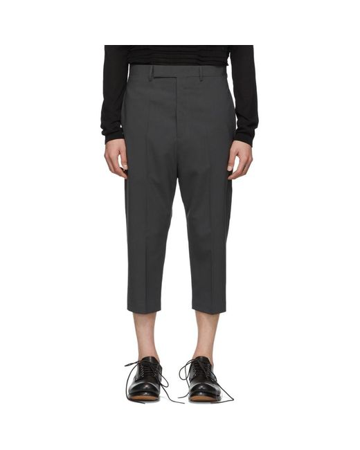 Rick Owens - Gray グレー クロップド Astaires トラウザーズ for Men - Lyst