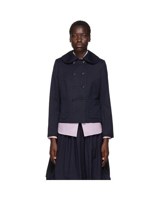 Comme des Garçons Blue Navy Wool Gabardine Jacket